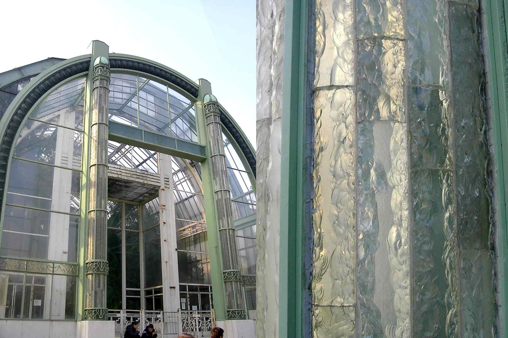 Création des colonnes en verre taillé à la main de la Serre du Jardin des Plantes Olivier Juteau Maitre Verrier Paris