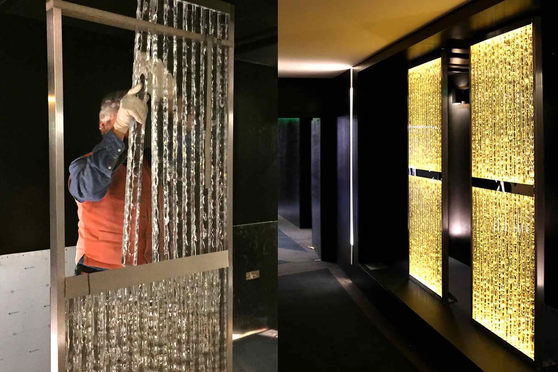 Parois lumineuses pour murs réalisées en bandeaux de verre écaillé par le Maître Verrier Olivier Juteau