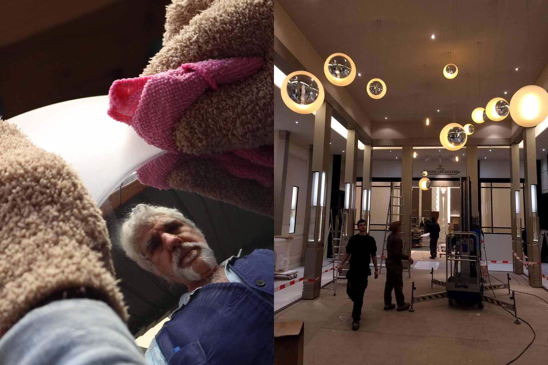Parties en verre des luminaires du Hall d'entrée de Jaeger-LeCoultre Paris rélaisées par le Maître Verrier Olivier Juteau
