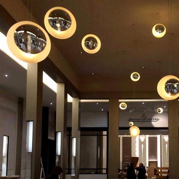 Participation à la réalisation de luminaire pour le Hall d'entrée de Jaeger Lecoultre Maitre Verrier Olivier Juteau