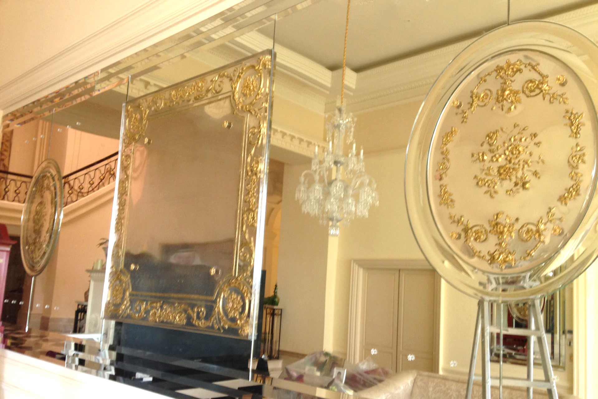 Miroir d'Art en verre ovale pour Klam miroirs décoratifs d'intérieur Olivier Juteau Maître-Verrier