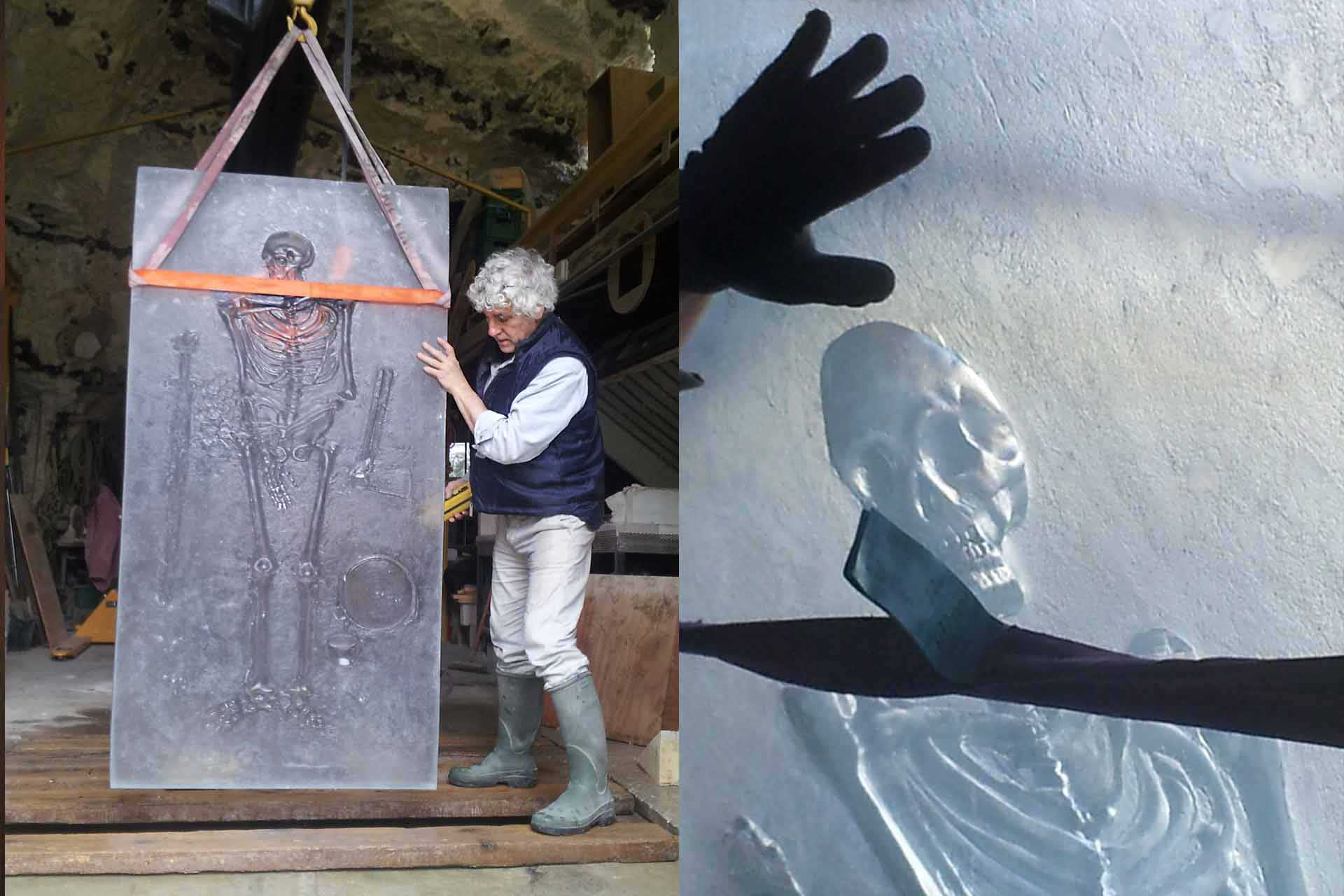 Sculpture squellette en pâte de verre pour Jean Divry Olivier Juteau Maître Verrier