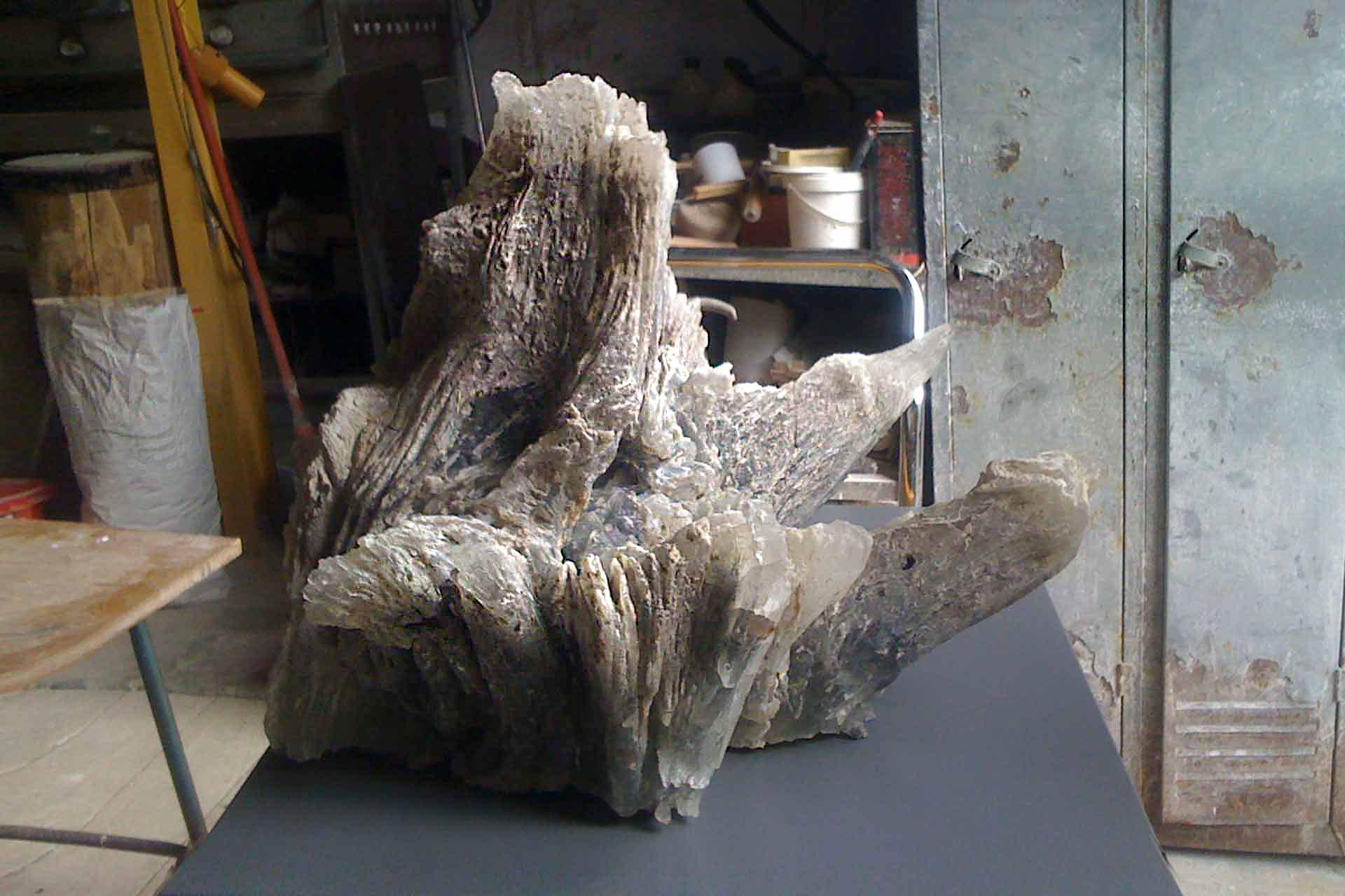 Sculpture souche d'arbre en verre Maitre Verrier Olivier Juteau