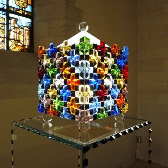 Sculpture de tabernacle d'église en verre multicore Maitre Verrier Olivier Juteau